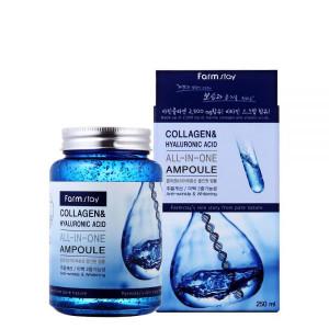 Многофункциональная сыворотка для лица с витаминами и гиалуроновой кислотой FarmStay All In One Collagen and Hyaluronic Ampoule