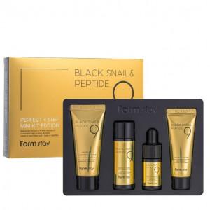 Антивозрастной набор с муцином черной улитки и 9 пептидами Farmstay Black Snail & Peptide9 Perfect 4 Step Mini Kit Edition